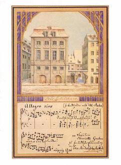 Acuarela de Mendelssohn de 1836, representando a la Gewandhaus.