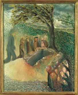 """Begräbnis von Gustav Mahler"". Óleo sobre lienzo de Arnold Schönberg (1911)"
