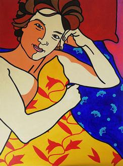 FEMME LASSIVE - Acrylique sur toile 97 x 130 cm