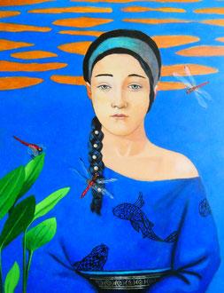FEMME AUX LIBELLULES - Acrylique sur toile 56 x 65 cm