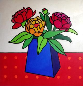LE VASE BLEU - Acrylique sur toile 80 x 80 cm