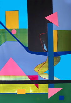 Body transforming in landscape - acrylic on canvas, 100 x 200cm, 2017