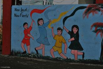 Ile Maurice, Central Flacq, mur d'une école mauricienne