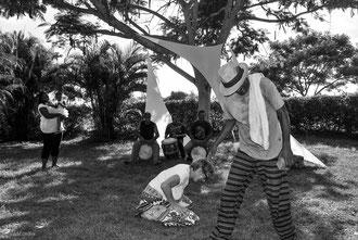 Guadeloupe, Port-Louis, Beauport, Jacky Jalème joue avec Jackotte