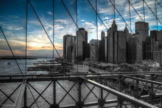 New York, Pont de Brooklyn, vue sur Manhattan