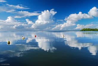 Guadeloupe, Port-Louis, reflet du ciel et des bouées sur la mer des Antilles
