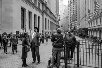 Discussion à Wall Street, Manhattan,New York