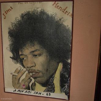 Poster de Jimi Hendrix à Essaouira au Maroc.
