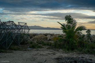 Guadeloupe, Port-Louis, Casier de pêche au soir