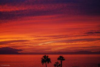 Tenerife, Callao Salvaje, coucher du soleil dans le ciel flamboyant