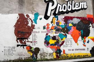 Liste des guerres et génocides sur un mur de Dublin, Irlande. Quand cela s'arrêtera t'il ?