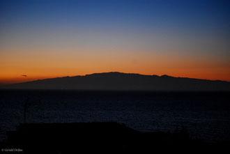 Vue le soir de Tenerife sur l'île de la Gomera Archipel des Canaries