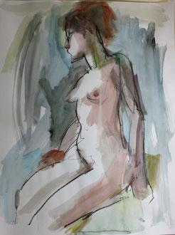 nu assis, graphite et gouache sur papier, 65/50 cm, 2013