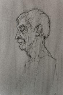 Rodion, pierre noire/papier, 40/30 cm, 2013