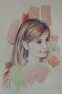 Izaïa, aquarelle et crayons sur papier, 40/30 cm, 2013