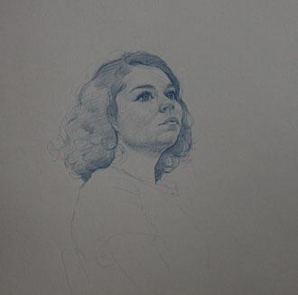 Aurore, crayon bleu, 30/30cm, 2015
