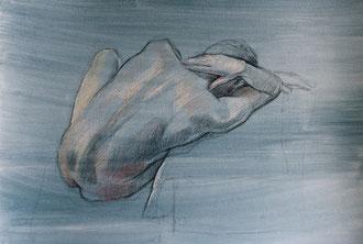 nu, pastels sur papier préparé, 50/65 cm, 2014