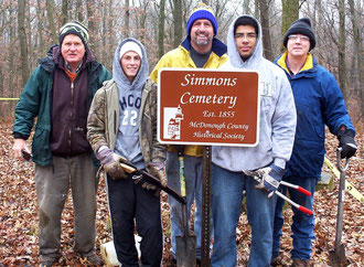 Simmons Cemetery - The final crew who helped Joe last week, from left, Tom Green (project supervisor), Ely and Mel Blasi (crew), Joe Howard, and Richard Thurman, Bishop of the Macomb Ward, Church of Jesus Christ of Latter Day Saints, Scout Troop sponsor.