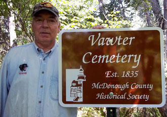 Dan Curtis recently installed the Vawter Cemetery sign with the spelling corrected.