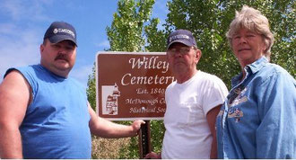 Charlie McDaniel, Mike McDaniel, and Janet McDaniel Blue --Willey Cemetery