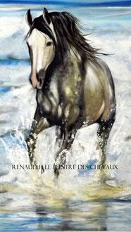 renaud-hadef-artiste-equin-BAIN DE MER-huiles sur toile 100x60cm