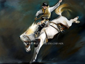 renaud-hadef-artiste-equin-RODEO-huile sur toile 100x80cm
