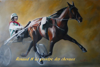 renaud-hadef-artiste-equin-A L'ARRIVEE-huile sur toile 120x80cm