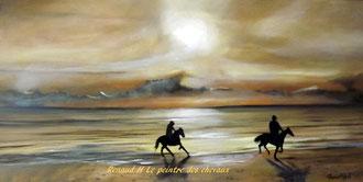 renaud-hadef-artiste-equin. CLAIR DE LUNE-Huile sur toile 100x60cm
