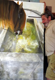 renaud-hadef-artiste-equin-A LA SOURCE-huile sur toile 155x90cm