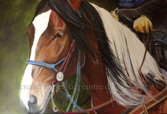 renaud-hadef-artiste-equin-PARFUM D'AMERIQUE-huile sur toile 120x60cm