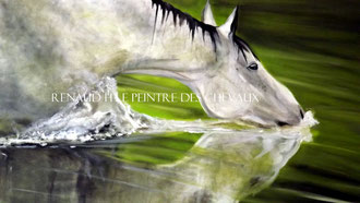 renaud hadef artiste equin-REFLET-Huile sur toile 100x60cm