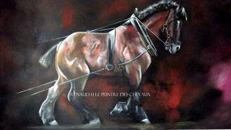 renaud-hadef-artiste-equin-BOULONNAIS-huile sur toile 155x90cm-chevaux-lourds-peinture-chevaux