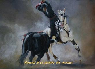 renaud-hadef-artiste-equin-CORRIDA-huile sur toile 100x80cm