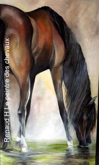 renaud-hadef-artiste-equin-SOIF-huile sur toile 155x90cm