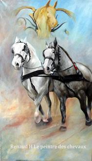 renaud-hadef-artiste-equin-PERCHERONS-huile sur toile 155x90cm