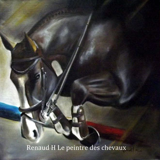 renaud-hadef-artiste-equin-A L'OBSTACLE-huile sur toile 80x60cm
