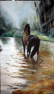 renaud-hadef-artiste-equin-Le RUISSEAU-huile sur toile 155x90cm