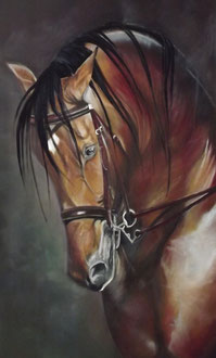 renaud-hadef-artiste-equin-DIGNE- Huile sur toile 155x90cm-pur-sang-portugal-irlande