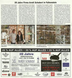 Artikel zum 20. Firmenjubiläum im Falkensteiner Anzeiger