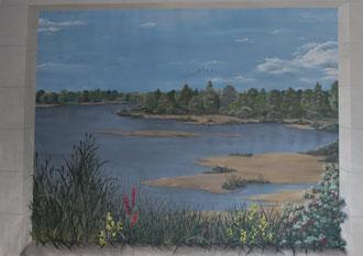 Trompe l'œil sur toile dans un hall d'entrée d'une maison de retraite à Angers  2.00 x 2.80