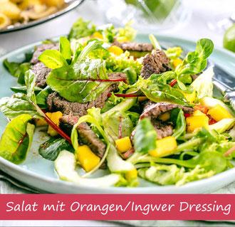 Rezept Mangosalat mit Steakstreifen und Orangen Ingwer Dressing