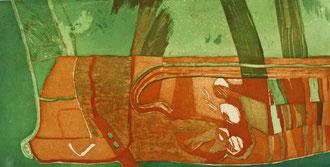 Verhaltene Strömung (Aquatintaradierung, Motiv 50 cm x 100 cm, Papier 60 cm x 107 cm, 2000, E/A)