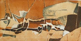 Schichtung (Aquatintaradierung, Motiv 50 cm x 100 cm, Papier 60 cm x 107 cm, 2000, E/A)