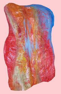 Feuer, Lack, Acryl auf Pappmaché, ca. 130 x 80 cm