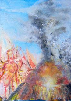 Zeus als Tatzelwurm (Ausschnitt),  Lack, Acryl auf Leinen 150 x 95 cm