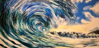 Welle Acryl und Lack auf Leinwand 140 x 70 cm