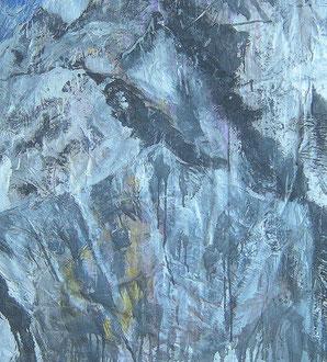 Alpin (Ausschnitt) , Lack auf Pappmaché, 100 x 145 cm