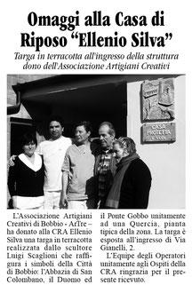 settimanale La Trebbia - targa in terracotta realizzata da Luigi Scaglioni