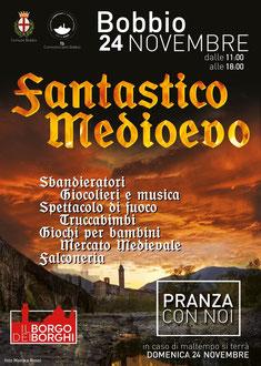 Gli Artigiani di ArTre a Bobbio IN PIAZZA SANTA FARA portici abbazia San Colombano per Fantastico Medioevo 2019