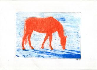 Pferdestärken, 2015, Pastellstift, 21 x 29,7 cm